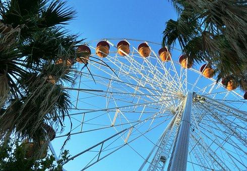 Ferris Wheel, Sky, Carousel, Blue, Gondola