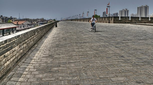 Xi'an, China, Rampart, Pierre, Architecture, Cyclist
