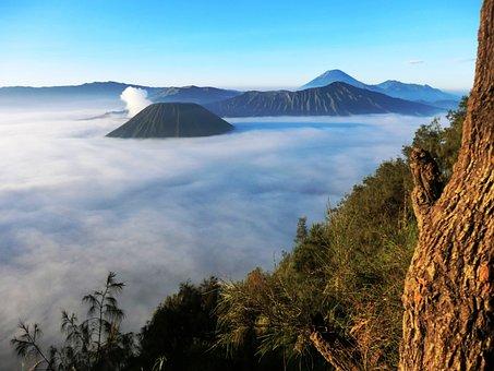 Volcano, Bromo, Indonesia, Clouds, Fog, Top, Main