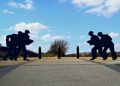Silhouette, Soldiers, Shell, Fort, Historic