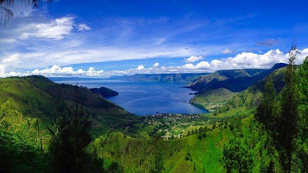 Lake Toba, Indonesia, Sky, Clouds, Landscape, Scenic