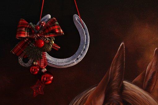 Christmas, Horse, Horseshoe, Luck, Advent, Nostalgic