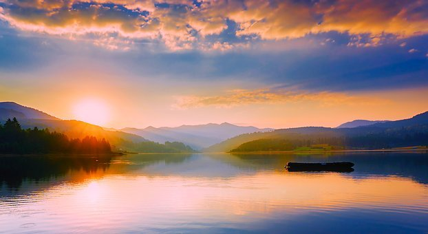 Romania, Lake, Water, Reflections, Panorama, Sunset