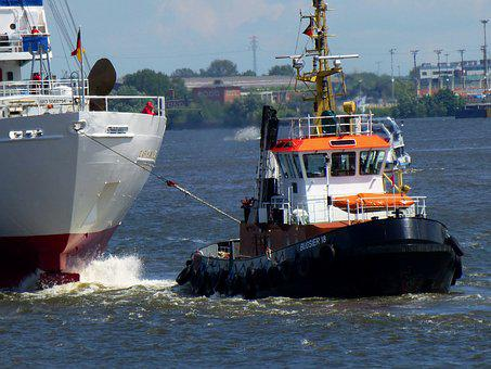 Tug, Seafaring, Port, Hamburg, Ship, Water, Boot, Lake