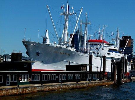 Hamburg, Maritime, Cap San Diego, Landungsbrücken, Elbe