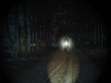 Cyclists, Night, Park, Weird, Spotlight, Light, Away