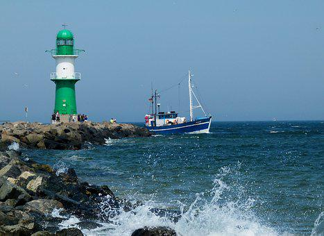 Lighthouse, Warnemünde, Baltic Sea, Cutter, Maritime