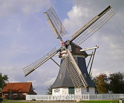 Windmill, East Frisia, Restored, Werdum, Monument, Mill