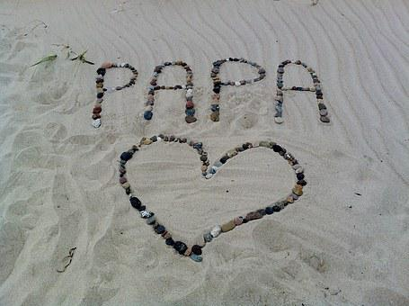 Papa, Font, Heart, Stones, Declaration Of Love, Sand