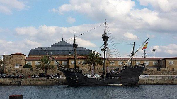 Urban Landscape, Port, Boat, Spring, Blue, Ferrol