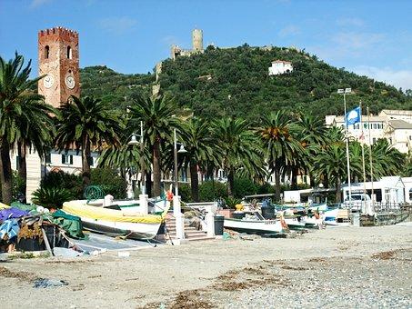 Noli, Italy, Beach, Boats, Castle