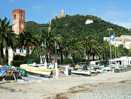 Noli, Italy, Beach, Boats, Castle