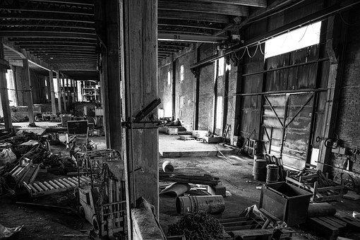 Empty Abandoned Factory, Industrial, Abandoned, Brick