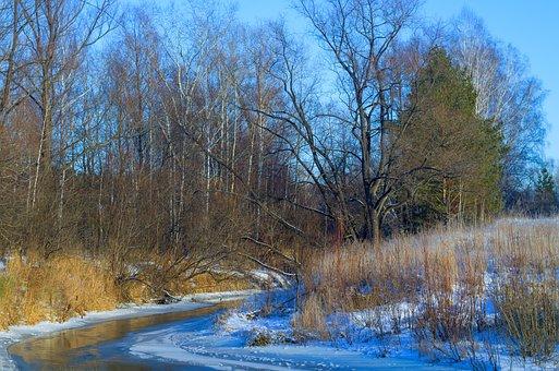 Autumn, River, Snow, Quiet River, Autumn On The River