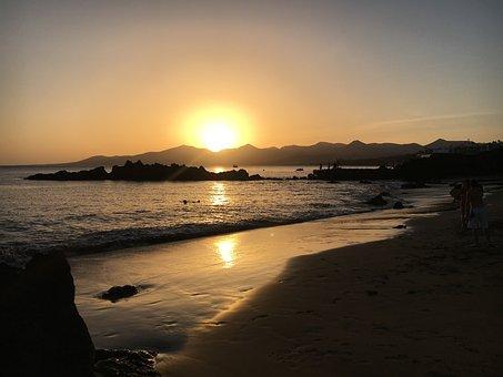 Sunset, Lanzarote, Beach