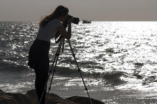 Sea, Shore, Girl, Photographer, Camera, Dslr, Tripod