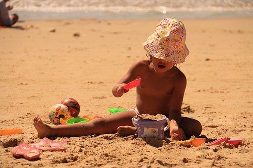 Child Playing, Sand, Beach, Joy Of Child, Holidays, Mar