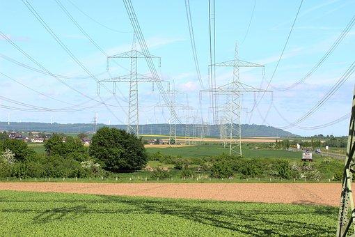 Power Line, Field, Rwe, Power Poles, Landscape