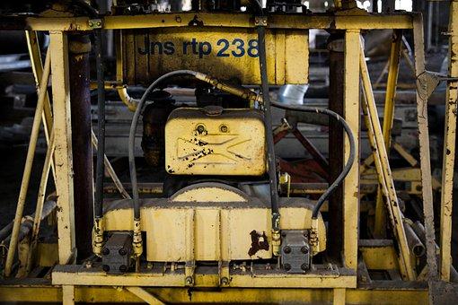 Yellow Machinery, Machine, Rusty, Old, Metal, Steel