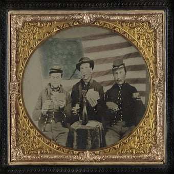 Civil War, Confederate, Soldiers, Flag, American, Cigar
