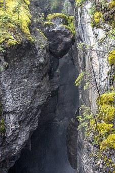 Suspended, Rock, Boulder, Canyon, Cliff, Nature