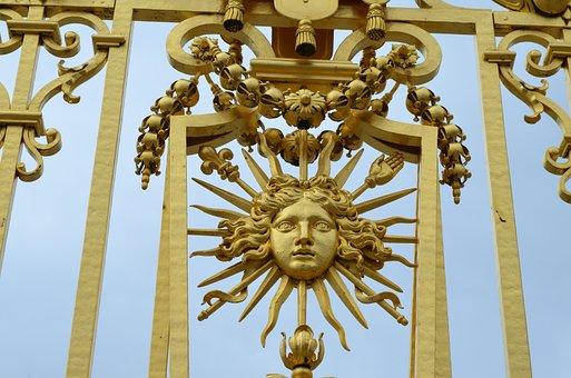 Sun King, Versailles, Grid, Gold, Sun, Ludwig, Louis
