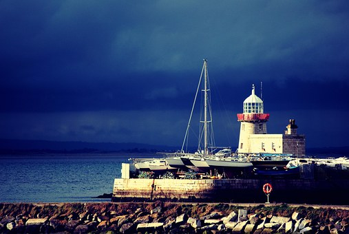 Lighthouse, Boats, Coast, Rocks, Ocean, Sea, Water