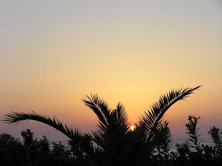 Sunset, Afterglow, Evening Sky, Sea, Beach, Water