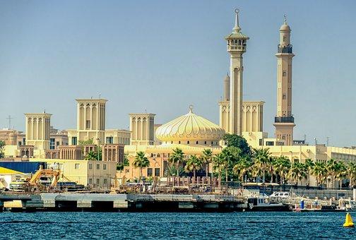 Orient, Dubai, Palace, Mosque, Minaret, Building, Sea