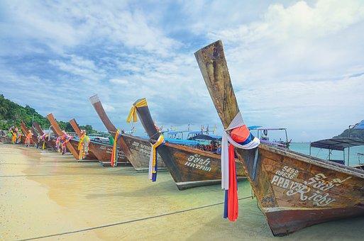 Thailand, Phuket, Phi Phi Island, Island, Boats, Canopy