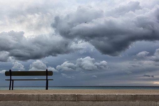Bench, Sea, Seaside, Beach, Clouds, Marseille, Vacuum