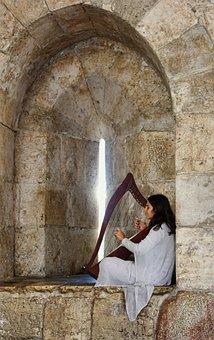 Harp, Music, Musician, Medieval, Street Musician