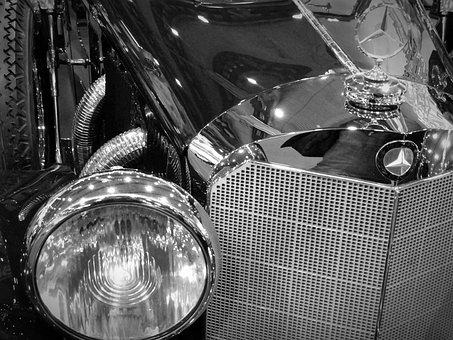 Oldtimer, Mercedes, Spotlight, Emblem, Classic, Grille