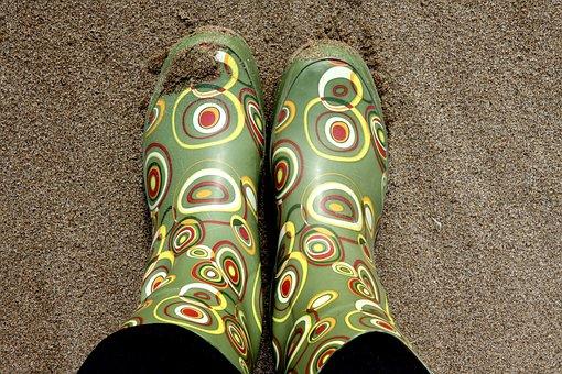 Wellingtons, Booths, Rain Boots, Walking, Selfie, Sand