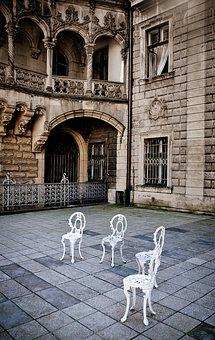 The Palace, Courtyard, Chairs, Empty, Square, Arcade