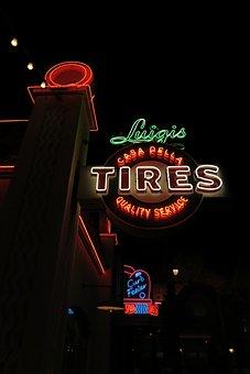 Luigi's Tires, Disneyland, Racers, Neon, Sign, Street