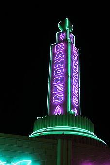 Ramones, Disneyland, Racers, Neon, Sign, Street, Night