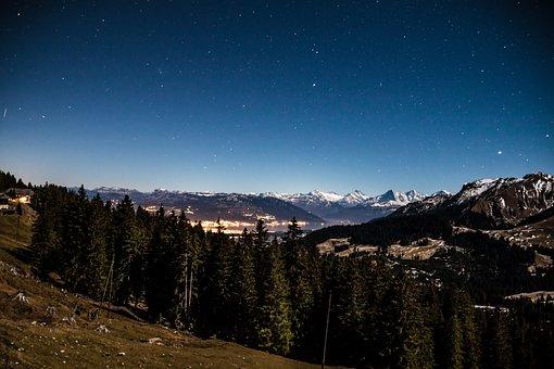Starry Sky, Star, Mountains, Long Exposure, Evening Sky