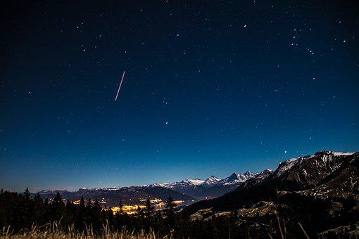 Starry Sky, Star, Mountains, Long Exposure, Evening Sky