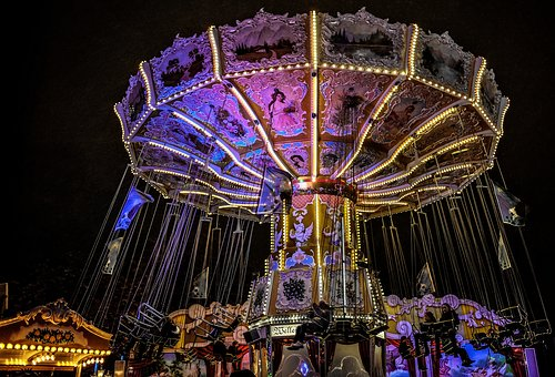 Year Market, Carousel, Night, Ride, Carnies, Fair
