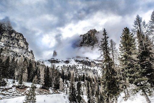 Italy, Dolomites, Mountain, Winter, Snow, Hiking