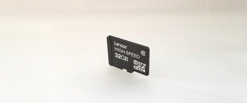 Micro, Sd, Card, 32gb, White, Background, Lexar, Memory