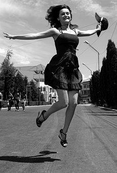 Woman, Lady, Girl, Jump, Photography, Black And White