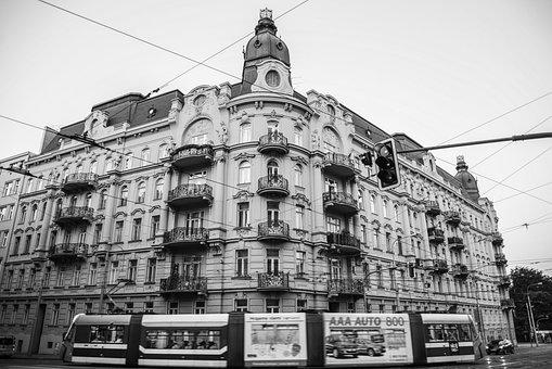 Long Exposure, Black And White, Urban, Tram, Rail, B W