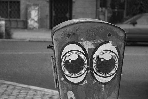 Street Art, Copenhagen, City, Eyes, Black And White