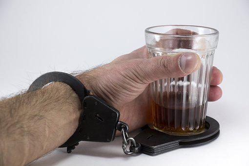 Alcohol, Glass, Hand, Handcuffs, Drinks, Liquor