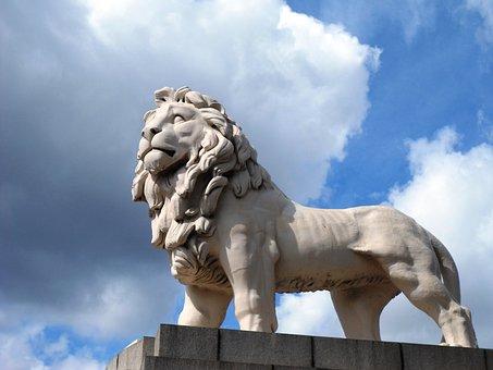 Lion, Statue, Sky, Stone Figure, Sculpture, Fig