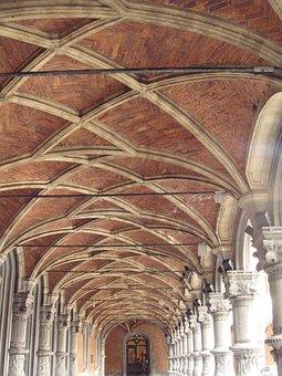 Monastery, Walkway, Ceiling, Liege, Belgium, Bricks