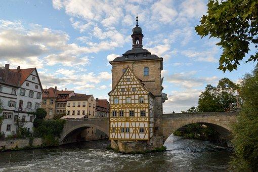 Bamberg, Town Hall, Fachwerkhaus, Bridge, Regnitz