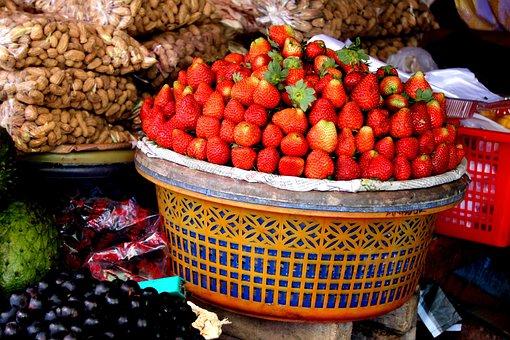 Strawberries, Basket, Decoration, Fruits, Assortment